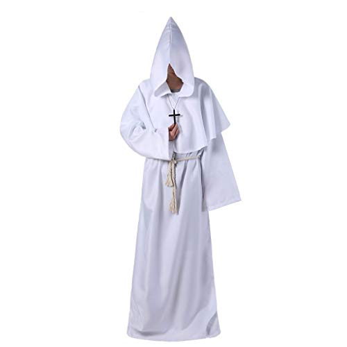 Different service Halloween Jacke Mantel Ritter Kostüm Herren Kapuzen Robe Gothic Dress Up Kleid Cosplay Kostüm (Color : White, Size : - Herr Kürbiskopf Kostüm