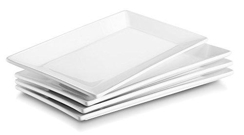 DOWAN Porzellan Servierplatten/Dessertteller, 25cmX14cm, Weiß/Platz Teller, 4er Set