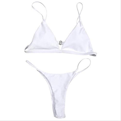 TVKL Bikini Neue Sommer Frauen solid Bikini Set Push-up ungepolstert BH Badeanzug Bademode Dreieck Badeanzug Badeanzug Badeanzug Badeanzug l weiß 3 -