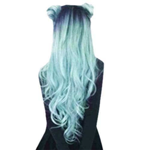 Dtuta Langes Haar, GroßE Welle, FormäNderung Haarteile Echthaar Blond Locken PerüCken ()