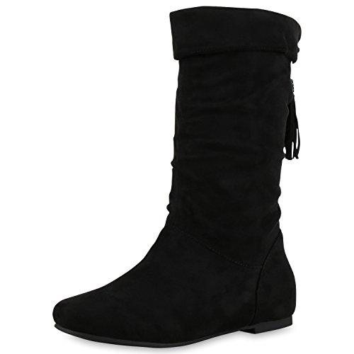 Bequeme Flache Damen Stiefel Hochschaft Stiefeletten Schuhe Gr. 36-41 Schwarz Gefüttert