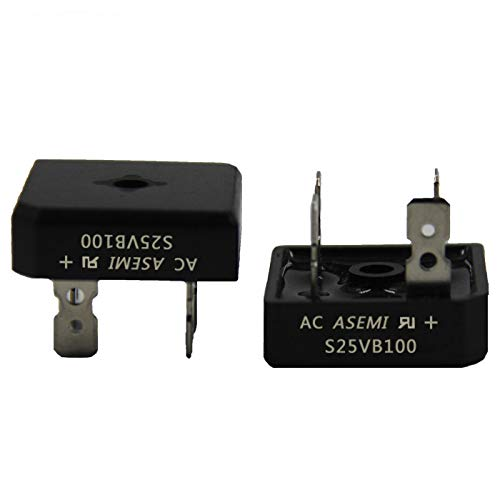 (Pack of 5pcs) ASEMI S25VB100 Through Hole Single Phase Bridge Rectifier 25A1000V for Induction Cooker...