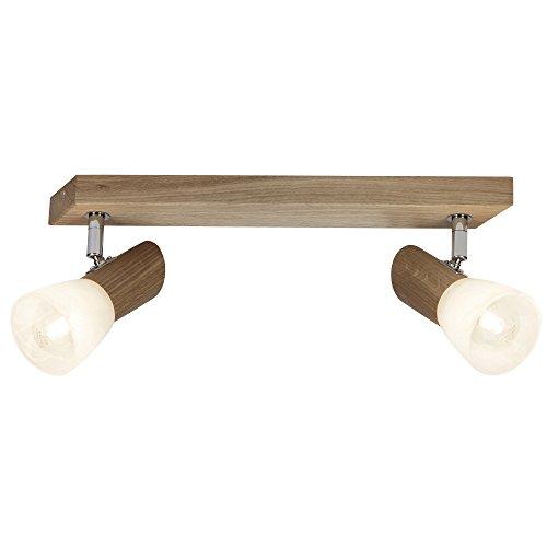Lámpara de techo, 2focos de techo, 2x E14Max. 28W, madera/cristal, roble/blanco de...