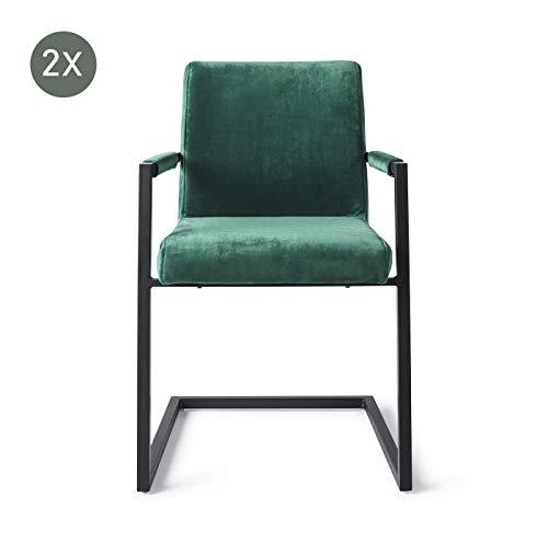 Dallas Velvet Grün | Set von 2 | Esszimmerstuhl | Design Stuhl Wohnzimmer | Urban Lifestyle-Kollektion | Grün -