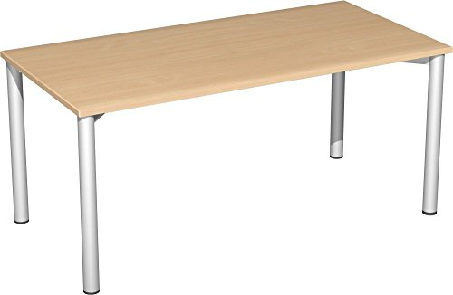 Gera Möbel 4 Fuß Flex Schreibtisch, Holzdekor, Buche/Silber, 160 x 80 x 72 cm