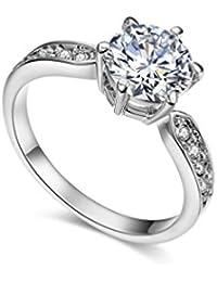 Anillo chapado en oro rosa de 18 K con 9 incrustaciones de cristal de RedFly, anillo de boda, anillo de compromiso,…