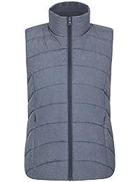 Mountain Warehouse Beigegraues gefüttertes Damengilet - leichte Thermoweste, Reißverschlusstaschen, warm, wasserabweisend - geeignet für leichten Regen auf Reisen