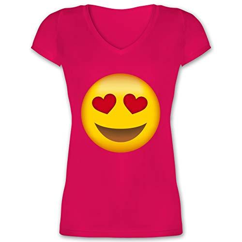 Comic Shirts - Verliebter Emoji - L - Fuchsia - XO1525 - Damen T-Shirt mit V-Ausschnitt (Downton Abbey Kostüm Frauen)