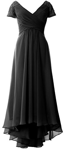 MACloth Cap Sleeves V Neck High Low Mother of Bride Dress Evening Formal Gown Schwarz