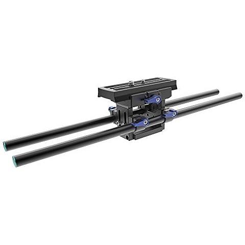 SunSmart Profesional de soporte del aparejo de la cámara con la cámara ajustable placa riser Base y Varillas Sistema Ferroviario Dos 15mm estándar para la ayuda del hombro Jaula Cámara Cámara Rig sigue el foco de la videocámara DSLR