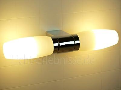 Dekorative Badleuchte Badlampe aus Chrom und Opalglas IP44 Spritzfest Spiegelleuchte Spiegellampe 5822