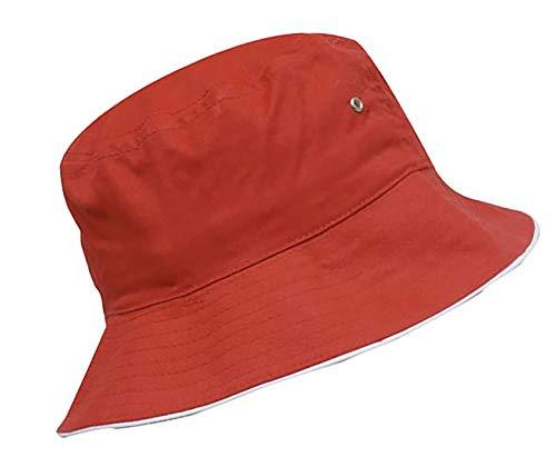 MFAZ Morefaz Ltd Unisex Fischerhüte Baumwolle Twill Bucket Hat Anglerhut Zum Wandern Camping Reisen (Red White Rim)