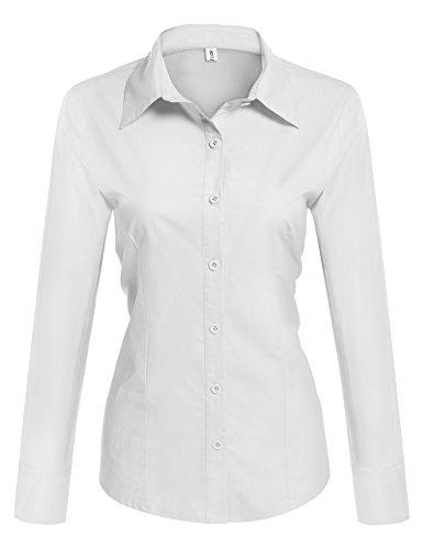 HOTOUCH Damen Hemd Bluse Basic Hemd Langarm Hemdbluse Damenbluse Arbeitshemd Freizeithemd Business Hemd