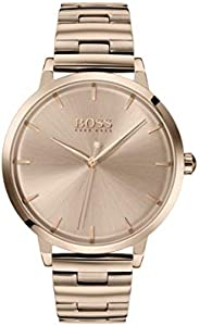Hugo Boss Womens Rose Gold Quartz Watch, Analog Display and Stainless Steel Strap 1502502