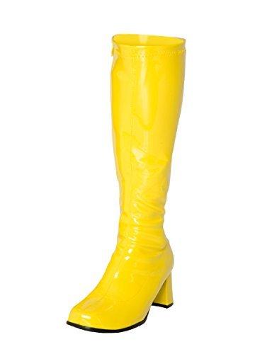 Preisvergleich Produktbild Kostüm Kniehohe Stiefel 60s 70s Retro Look GoGo-Stiefel - Gelb,  7