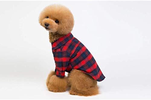 PZSSXDZW Neue Hundekleidung Revers Karo Pet Kleidung Klassische Beine Kariertes Hemd Teddy-Hundekleidung Red - Klassische Flash Kostüm