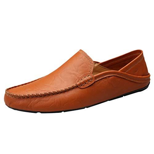 LILIHOT Herren Mokassin Bootsschuhe Leder Loafers Schuhe Flache Fahren Halbschuhe Slippers Herren Schnürhalbschuhe Männer Müßiggänger Sommer beiläufige Elegante treibende Schuhe Klassische (Braun Loafer Bass)