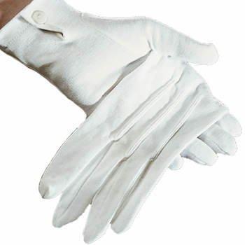 Handschuhe Damen, weiß mit Biesen, (Handschuhe Druckknopf Mit Weiße)
