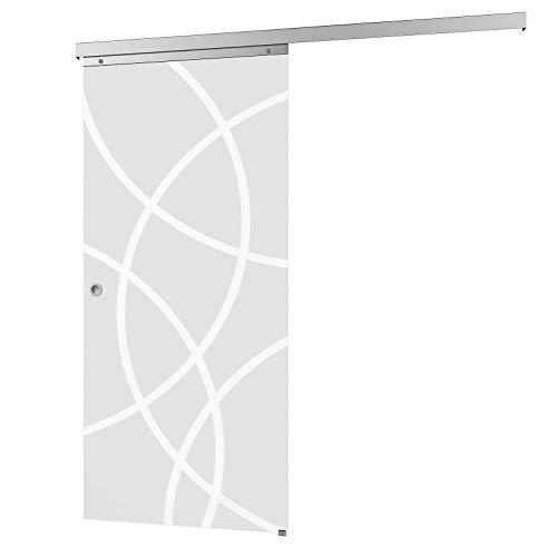 inova Glas-Schiebetür 755 x 2035 mm Kreis Design Alu Komplettset mit Lauf-Schiene und Griffmuschel inkl. Softclose
