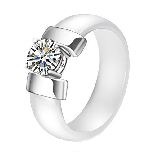 OAKKY Unisex 7MM Einfacher Stil Glatt Ring Keramik Plus Zirkonia Paars Verlobung Band Komfort Passen Weiß Silber Größe 57(18.1) (Weiß Gold Prinzessin Schnitt Ring Set)