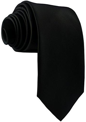 ADAMANT Herren Krawatte Klassische Form Schwarz 7cm Breit - Schwarze Seide Krawatte