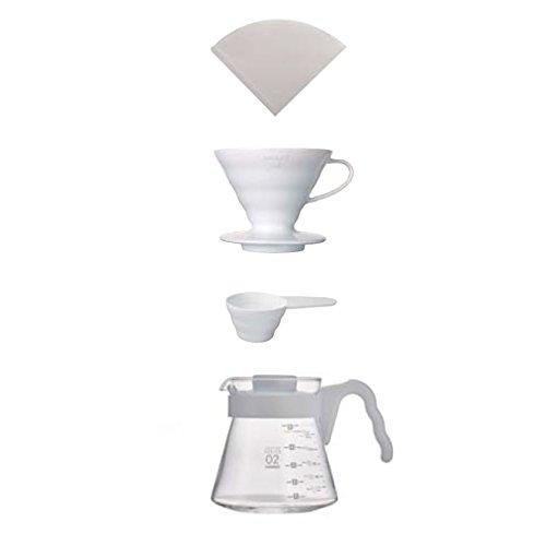 Hario 4977642019287 Einsteigerset Kaffee 4 teilig, Porzellan, weiß, 17,5 x 23, 5 x 13 cm V60 Coffee Brewing Kit