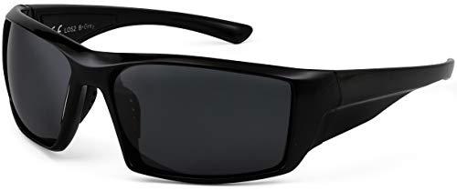 La Optica B.L.M. UV400 CAT 3 Unisex Damen Herren Sonnenbrille Sport Leicht Fahrradbrille - Schwarz (Gläser: Grau)
