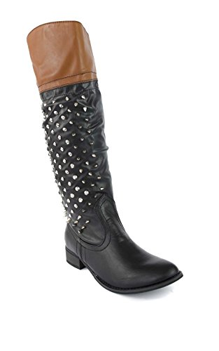 IKRUSH Womens Ladies Girls Trend Catwalk Grung Punk Thigh High Knee High Boots Spike Spiked Tan and Black Side Zip Boots Black