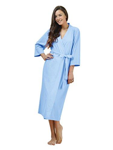SIORO Femme Sexy Robe de chambre peignoir longue kimono robes 3/4 Manche Nuit Courte Caroline Bleu
