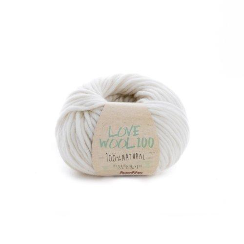 Katia love wool 100, colore crudo (200), lana con alpaca per lavoro a maglia e uncinetto per ferri da 7 - 9 mm, 100 grammi circa 100 metri di lana alpaca