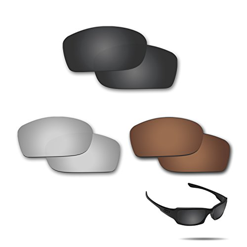 fiskr anti-saltwater Polarisierte Ersatz Gläser für Oakley Fives Squared 3 Paar Pack, Stealth Black & Metallic Silver & Bronze Brown