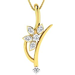 Dishis Designer Jewellery 14k (585) Yellow Gold and Diamond Gold, Diamond Designer Pendant Pendant for Women