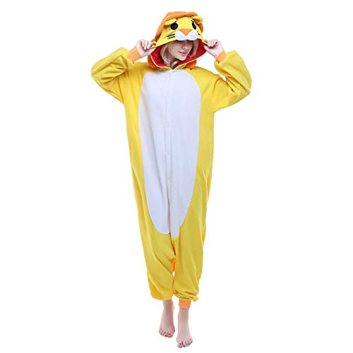 DUKUNKUN Erwachsene Pyjamas Lion Pyjamas Kostüm Gelb Cosplay Für Tier Nachtwäsche Cartoon Halloween Festival/Urlaub / Weihnachten,XL