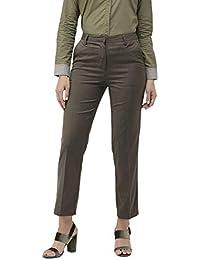 Ombre Lane Women's Walnut Brown Straight Fit Formal Trouser.