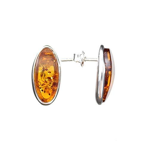 Ohrringe Natur Bernstein von Artisana-Schmuck, länglich ovale Ohrstecker 925/000 Sterling Silber