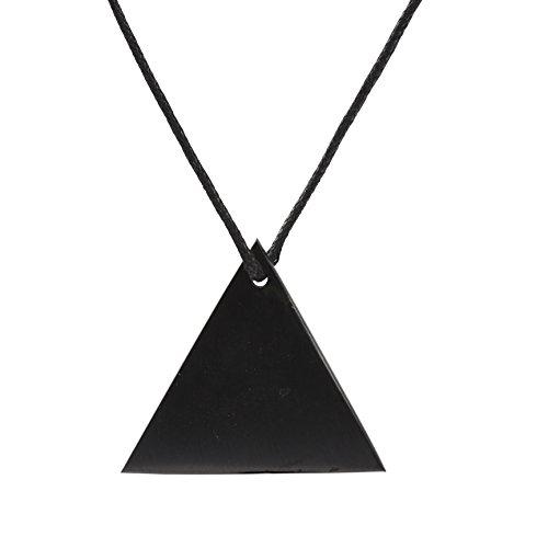Unbekannt Schungit Anhänger: Garantiert authentisch höchste Qualität Russische Naturheilung Stein aus Karelia (Dreiecks Halsband)