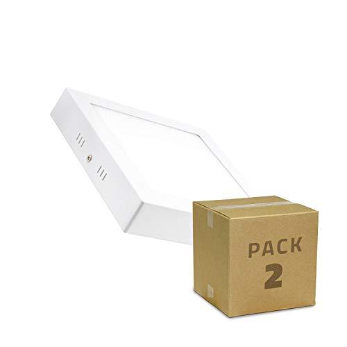 Pack Plafones LED Cuadrado 18W (2 un) Blanco Neutro 4000K-4500K