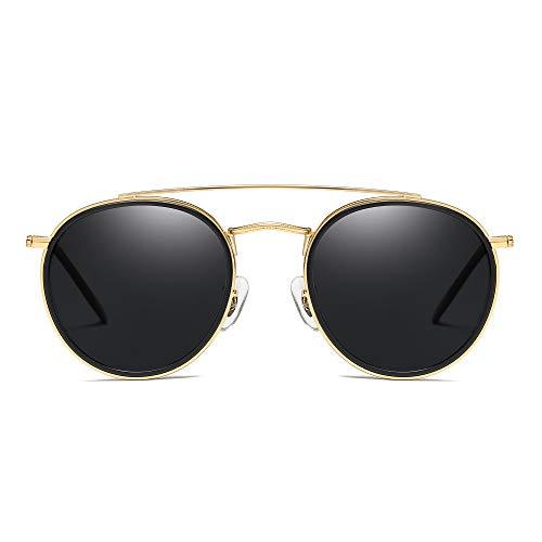 JIM HALO Runden Polarisiert Sonnenbrille Metall Rahmen Flach Kreis Linse Brille Damen Herren(Gold-Legierung Schwarz Tipp/Polarisiertes Grau)