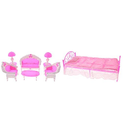 Gazechimp Puppenhaus Möbel Mini Sofa Stuhl Lampen Tisch Bett Blatt Kissen Set Für Barbie Puppen Haus Schlafzimmer / Wohnzimmer Deko Zubehör