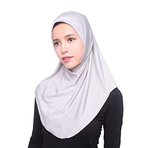 Deloito Muslim Eisseide Hijab Schal Damen Mode Elegant Kopftuch Hüte Islamischer Volldeckung Turban Wickelschal (Grau) Elegante Mode Hut