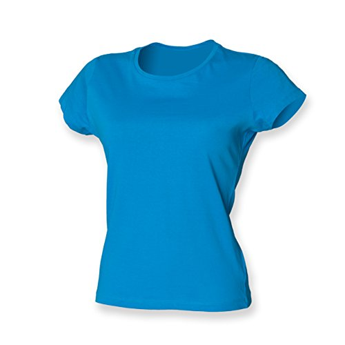 Skinni Fit - T-shirt -  - Crew - Manches courtes Femme Bleu - Saphire