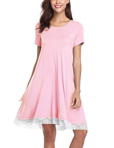 Aibrou pigiama cotone da donna,camicia da notte donna estivo,vestito gonna casual girocollo, manica corta s-xl, nero/blu/grigio/rosa/cielo blu