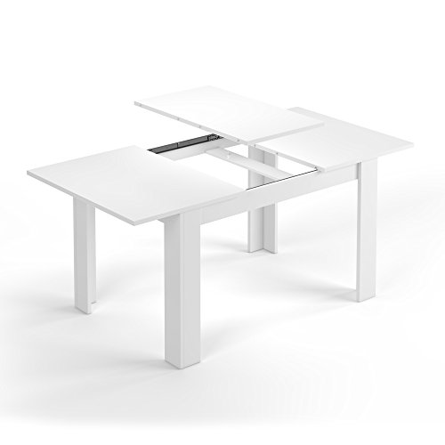 Fores Kendra - Mesa comedor extensible, fabricada en melamina, 90x140 / 90x190cm, blanco brillo