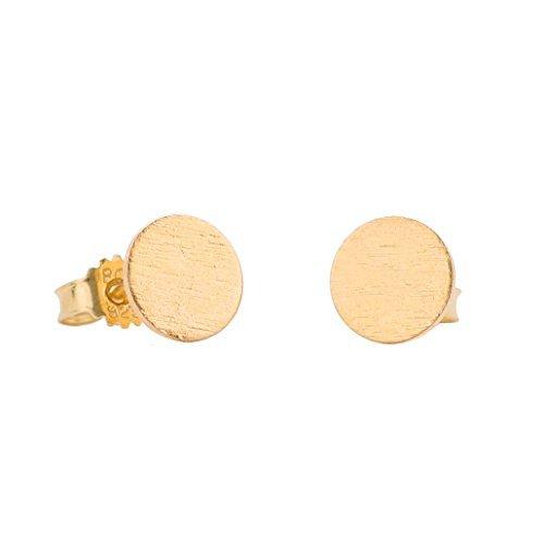 Pernille Corydon Ohrstecker für Frauen Solid Coin runde Platte Kreis goldenes Plättchen Echtschmuck 925er Sterling 18 Karat vergoldet - E202g