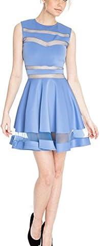 SunIfSnow - Robe spécial grossesse - Cocktail - Uni - Sans Manche - Femme - bleu - Small