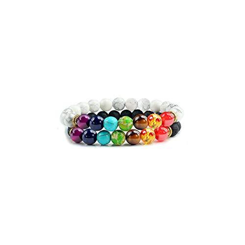 Awertaweyt Edelstein Perlen Armband 2 Pcs/Set 7 Chakra Bracelets Couple Distance Black Lava Stone Beads Yoga Bracelet Reiki Charm Jewelry Gift for Women Men Lovers White Black Lava -