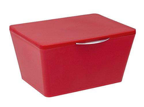 Wenko 22600100 Aufbewahrungsbox mit Deckel Brasil Aufbewahrungskorb, Badkorb mit Deckel, 19 x 10 x 15,5 cm, rot