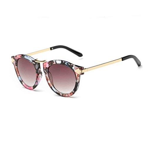 FloralLive Sommer-Frauen-Retro-Sonnenbrille Weinlese-Designer Outdoor-Brillen Brillen