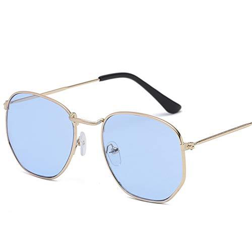 CCGSDJ Männer Sechseckige Flache Linsen Luftfahrt Sonnenbrillen Neue Vintage Frauen Rosa Spiegel Fahren Sonnenbrille
