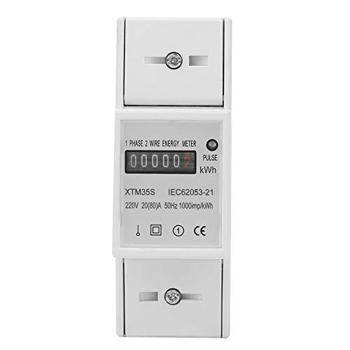 Akozon KWh Meter 220V Digital 1-phase 2 Draht 2 P DIN Schiene Stromzähler Elektronische KWh Meter (20 (80) A) -